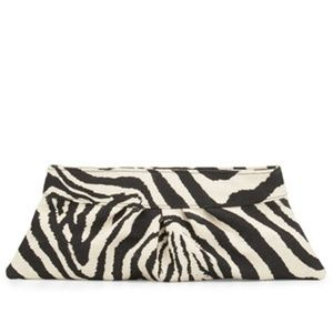 Lauren Merkin Louise Zebra-Print Clutch Bag
